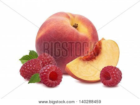 Whole peach fruit raspberry isolated on white background as package design element