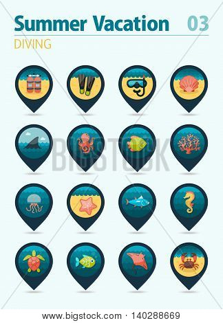 Diving vector pin map icon set. Summer time Map pointer. Map markers. Vacation eps 10