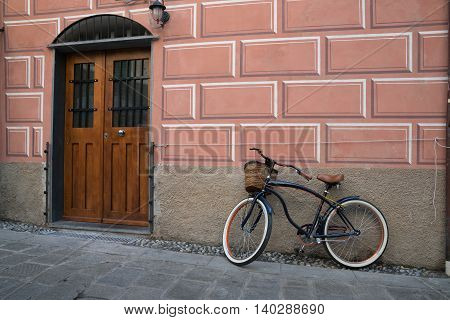 Bike parked outside of home in Monterosso Italy