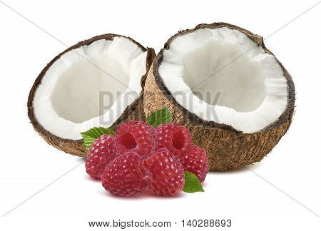 Coconut half broken raspberry isolated on white background as package design element