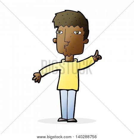 cartoon man raising point