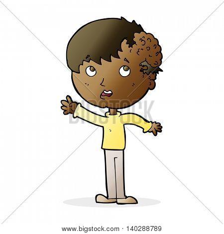 cartoon boy with growth on head