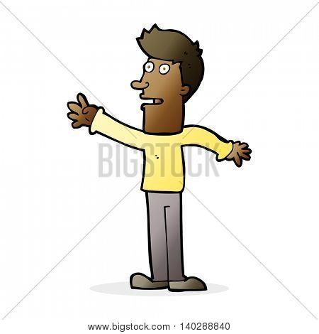 cartoon man reaching