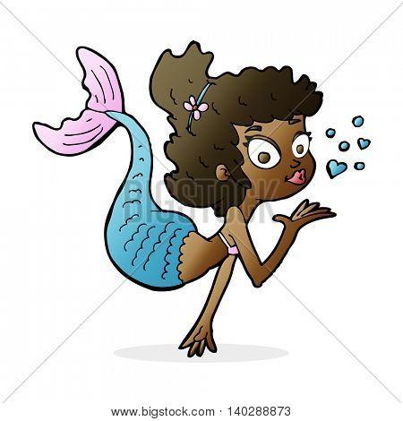 cartoon pretty mermaid