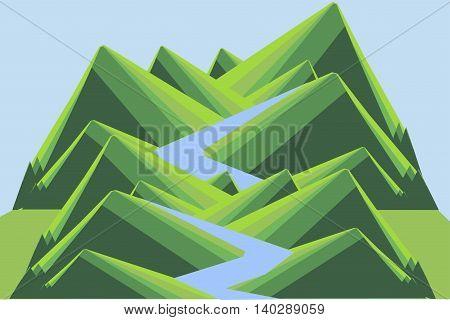 Mountain landscape with river. Green hills, blue river and sky. Modern flat design, design element, vector