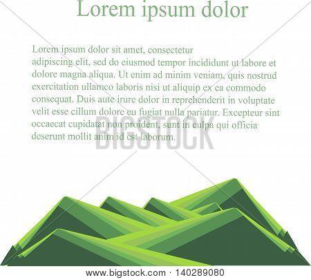Background with mountain landscape below on white. Green hills, lorem ipsum. Modern flat design, design element, vector
