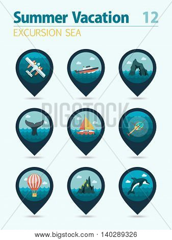 Excursion sea vector pin map icon set. Summer time Map pointer. Map markers. Vacation eps 10