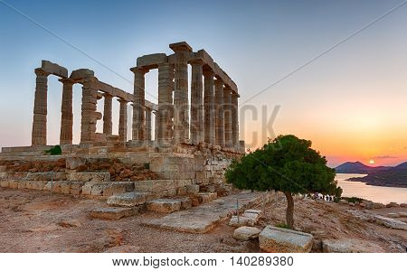 Temple of Poseidon at Sounion, Greece, during summer sunset