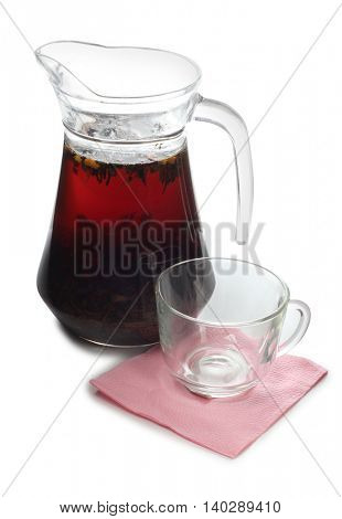 Glass cup with tea on white background