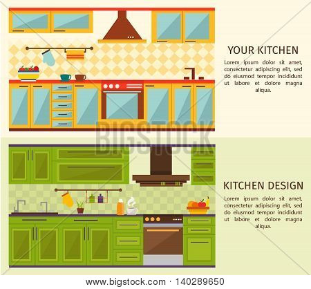 Kitchen interiors horizontal banners with yellow blue forniture and green wall cupboards and cabinets isolated vector illustration