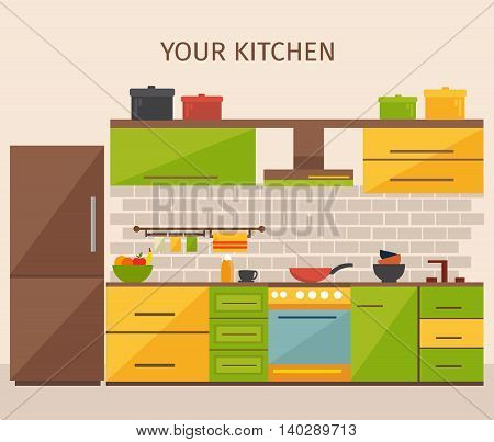 Kitchen interior design with colored pots yellow green cabinets household appliances grey tile beige wall vector illustration