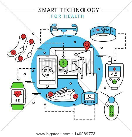 Smart technology line composition with smart clothes accessories and fitness equipment descriptions vector illustration