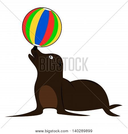 Brown sea lion playing with beach ball. Isolated cartoon childish vector illustration.