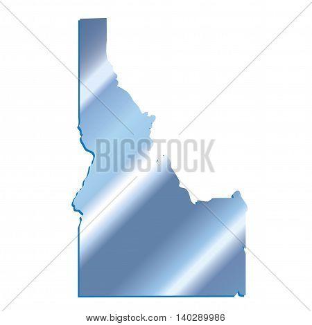 3D Idaho State USA Iridium Blue outline map