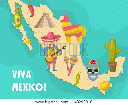 Mexican map poster with figure of Mexican who playing a guitar and distinctive features of the country vector illustration