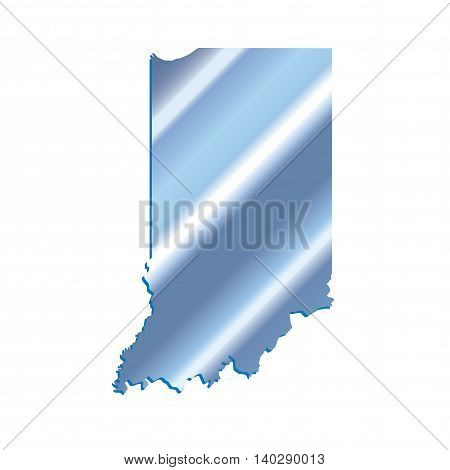 3D Indiana State USA Iridium Blue Outline Map