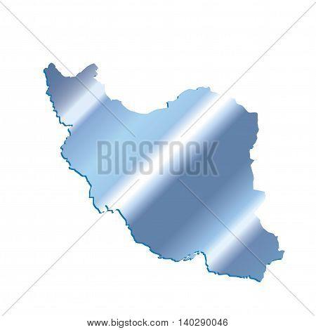 3D Iran Iridium Blue outline map with shadow