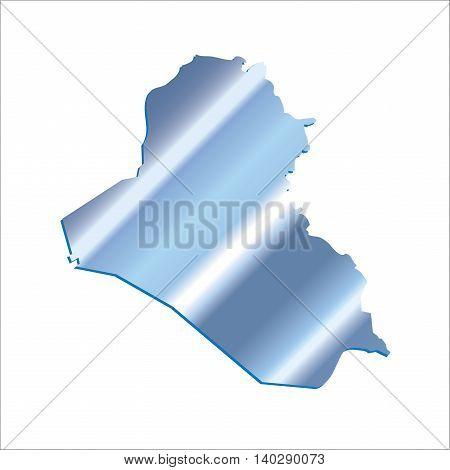 3D Iraq Iridium Blue Outline Map With Shadow