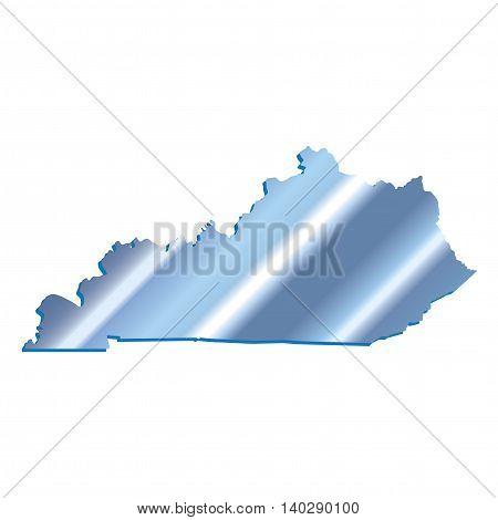 3D Kentucky (USA) Iridium Blue outline map with shadow