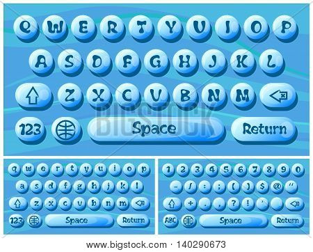 Virtual keyboard for a smartphone vector stylized water droplets.