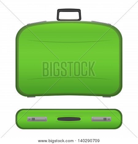 Green realistic suitcase with shadows in two projections, isolated on white background. Plastic or leather modern travel bag. Baggage for tourists on vacations. Stock illustration.