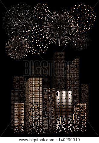 Yellow Firework Show On Night City Landscape Background. Vector Illustration