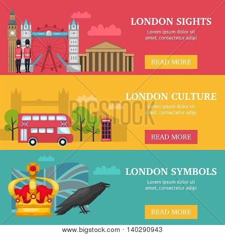 Three horizontal london banner set with London sights culture and symbols descriptions vector illustration