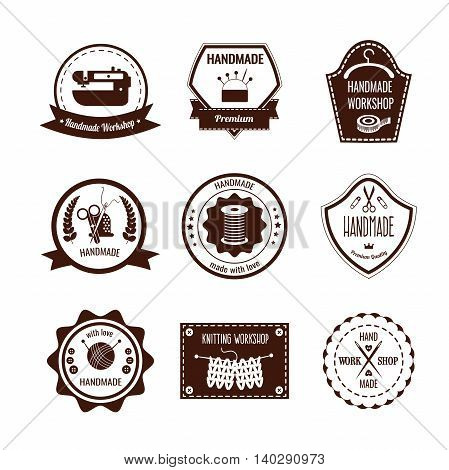 Handmade white brown badges with knitting and sewing tools hanger laurel leaves ribbons isolated vector illustration