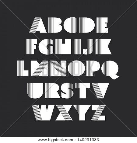 Art Deco Font Set - Vintage Vector Design. Retro Typography.