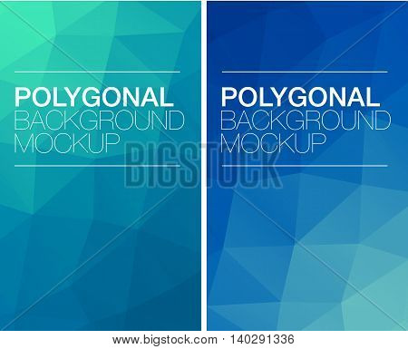 Colorful vertical polygonal banners with logo on white