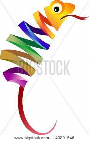 stock logo illustration colorful of chameleon reptile
