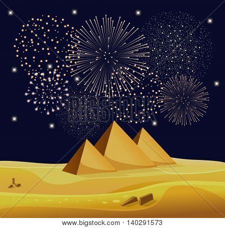 Firework show over Egyptian pyramids in the desert with star night sky. Vector illustration