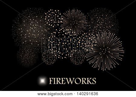 Golden Firework Show Isolated On Black Background. Vector Illustration