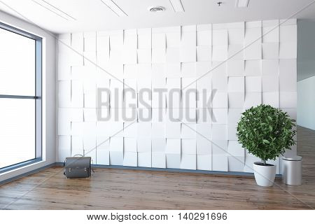 Empty office, white wall beside of panoramic window, workplace. 3D rendering