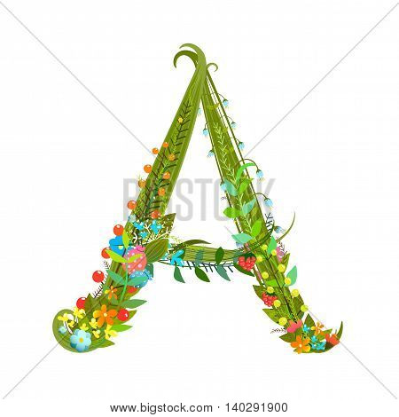 Flower ABC sign A. Floral summer colorful intricate calligraphy design element. Vector illustration.
