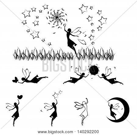 Fairy silhouette set,vector design ,isolated on whiite background