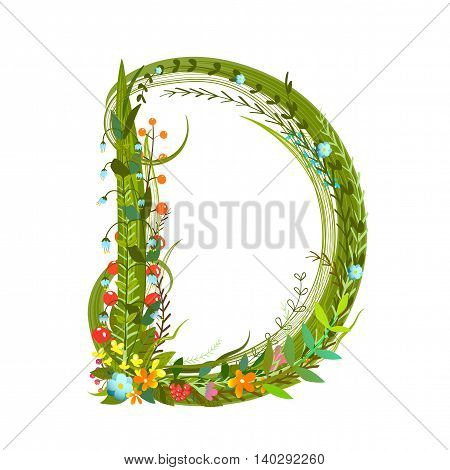 Flower ABC sign D. Floral summer colorful intricate calligraphy design element. Vector illustration.