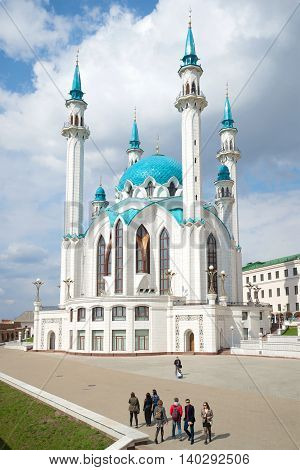 KAZAN, RUSSIA - APRIL 30, 2016: View of the mosque Kul-Sharif, april day. The main landmark of the city Kazan