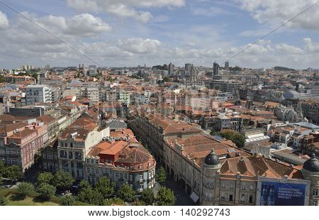 PORTO, PORTUGAL - AUGUST 7, 2015: A view of the city from Clerigos Tower in Porto Portugal