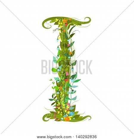 Flower intricate ABC sign I. Floral summer colorful intricate calligraphy design lettering element. Vector illustration.