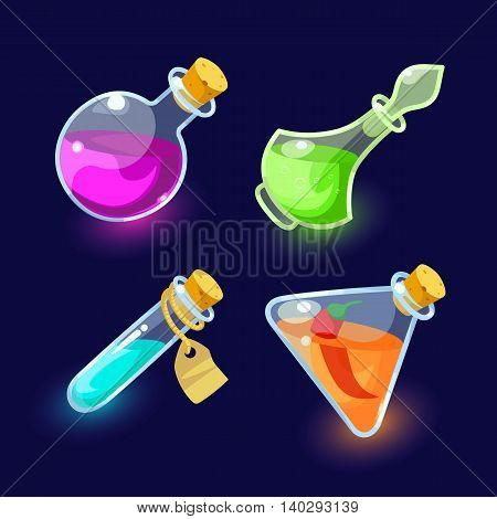 Vector illustration. Set of Cartoon Bottles of potion.Glass flasks with colorful liquids isolated on a dark background.icon game magic. Game icon of magic elixir.Vector design for app user interface