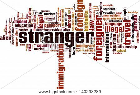 Stranger word cloud concept. Vector illustration on white