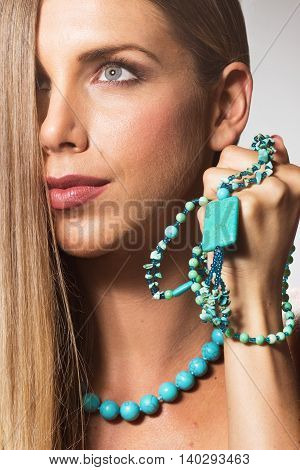 Beauty Close Up Face Head Young Woman Necklace Hand