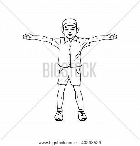 Vector illustration of a boy standing with arms outstretched. Doodle picture on an isolated white background.