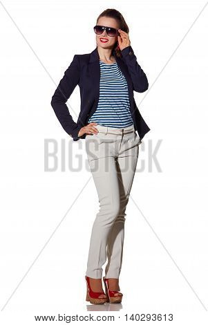Happy Young Woman In Sunglasses Looking On Copy Space On White