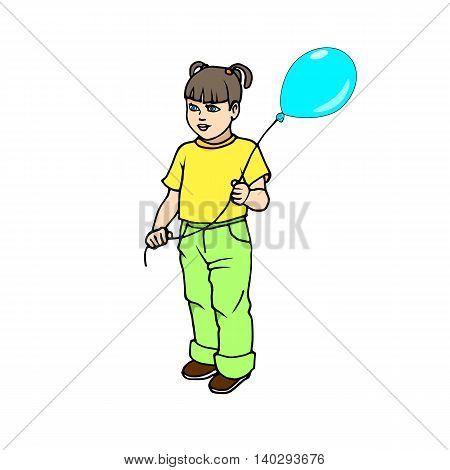 Vector illustration of a cute little girl with balloon on an isolated white background.