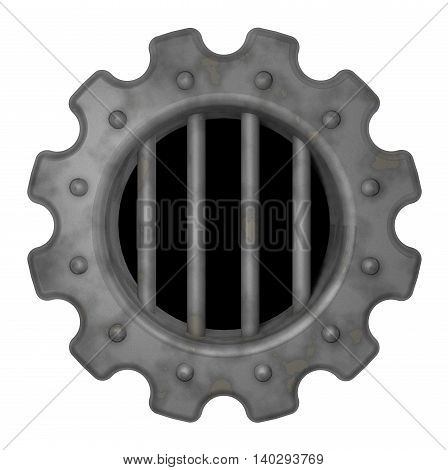 gear wheel prison window - 3d rendering