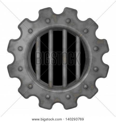 gear wheel prison window - 3d rendering