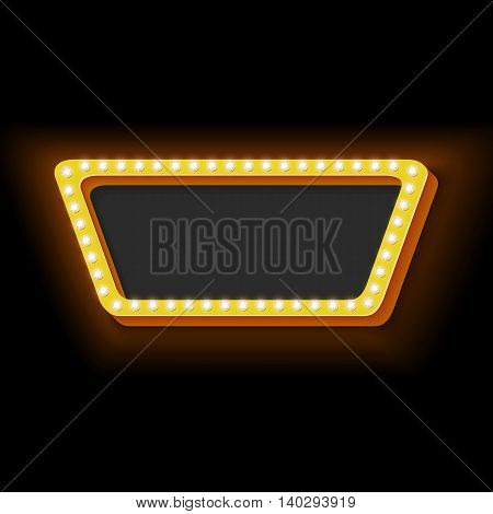 Vintage neon rectangle. 3d retro frame with a clean black background for the text. Neon yellow light on the black wall. Cinema frame symbol for your banner.