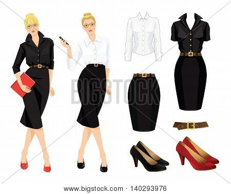Vector illustration of office uniform and formal shoes. Business woman or professor in black dress. Secretary telephone phone in her hand